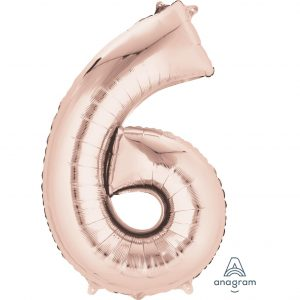 6 Rose Gold Jumbo Foil Balloon