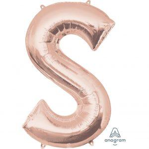 S Rose Gold Jumbo Foil Balloon