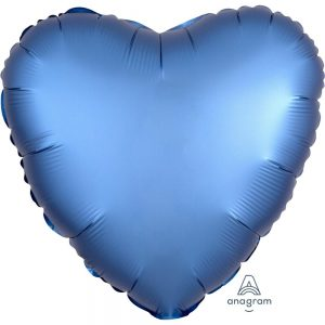 Azure Blue Heart Satin Luxe Foil Balloon