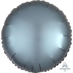 Steel Blue Round Satin Luxe Foil Balloon