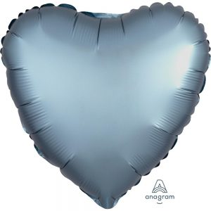 Steel Blue Heart Satin Luxe Foil Balloon