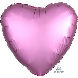 Flamingo Pink Heart Satin Luxe Foil Balloon