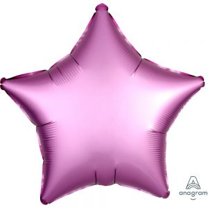 Flamingo Pink Star Satin Luxe Foil Balloon