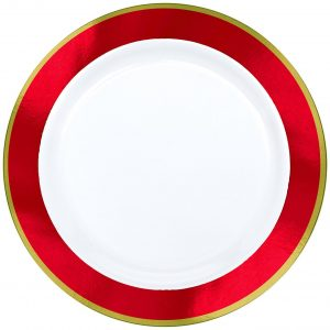 Premium Red and White Snack Plates