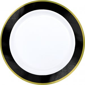 Premium Black and White Dinner Plates