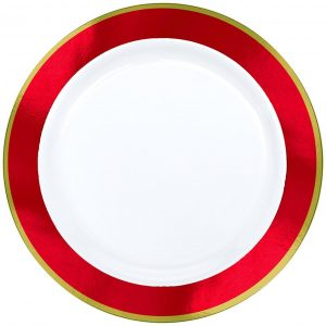 Premium Red and White Dinner Plates