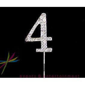 4.5cm Number 4 Diamante Cake Topper
