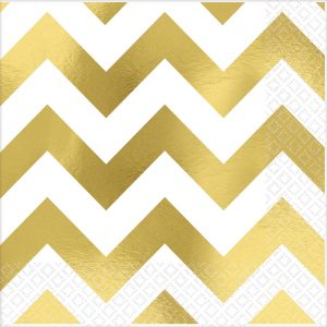 Premium Chevron Gold Hot-Stamped Beverage Napkin