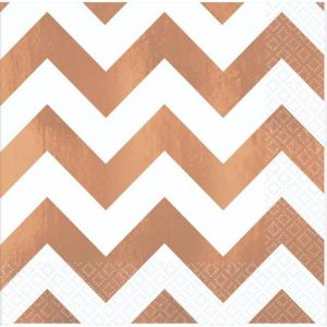 Premium Chevron Rose Gold Hot-Stamped Beverage Napkin