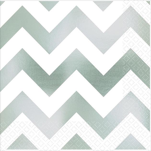 Premium Chevron Silver Hot-Stamped Beverage Napkin
