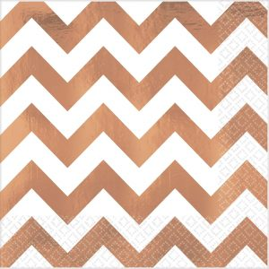 Premium Chevron Rose Gold Hot-Stamped Lunch Napkin