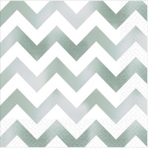 Premium Chevron Silver Hot-Stamped Lunch Napkin
