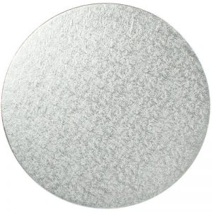 "11"" Silver Round Cardboard Cake Boards"