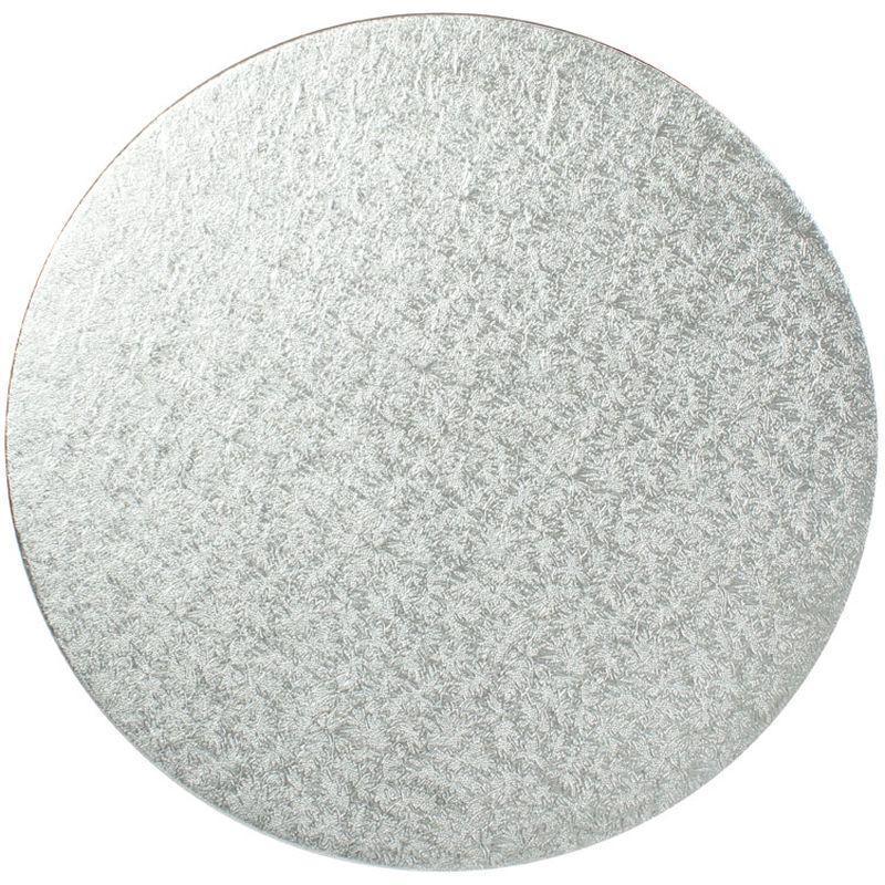 "11"" Silver Round Cardboard Cake Boards"