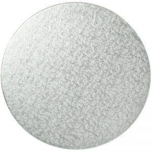 "9"" Silver Round Cardboard Cake Boards - Bulk 10 Pack"