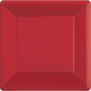 Red Square Paper Plates