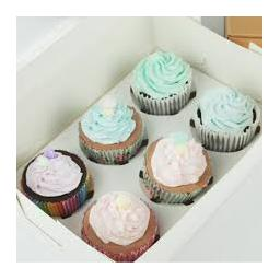 6 Hole White Cupcake Box