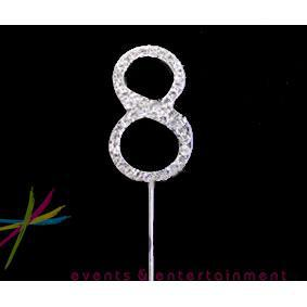 4.5cm Number 8 Diamante Cake Topper