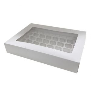 48 Hole White Mini Cupcake Box - Bulk 10 Pack