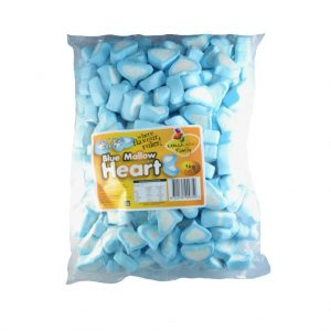 Blue Marshmallow Hearts - Bulk 1kg