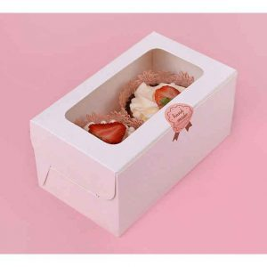 2 Hole White Cupcake Box