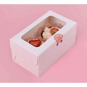 2 Hole White Cupcake Box