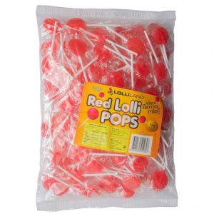 Red Flat Lollipops - Bulk 1kg