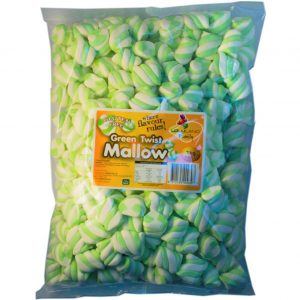 Green Marshmallow Twists - Bulk 1kg