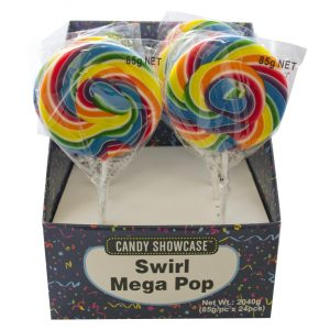 Rainbow Jumbo Swirly Lollipops - 24 Pack