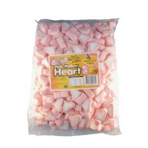 Pink Marshmallow Hearts - Bulk 1kg