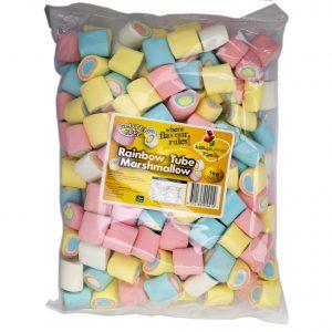 Rainbow Marshmallow Tubes - Bulk 1kg