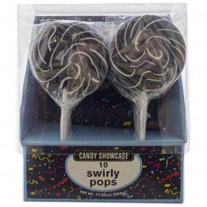Black Large Swirly Lollipops - 10 Pack