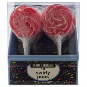 Red Large Swirly Lollipops - 10 Pack