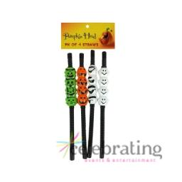 Halloween Party Pumpkin Ghost and Frankenstein Straws 4pk
