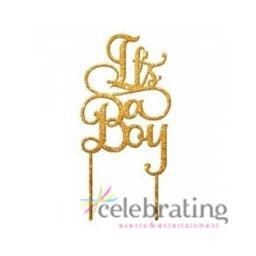 It's A Boy Glitter Gold Acrylic Cake Toppers