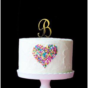 GOLD Cake Topper (7cm) - LETTER B