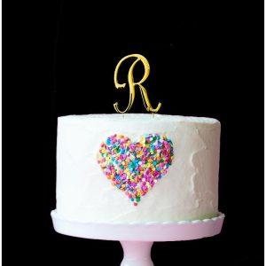 GOLD Cake Topper (7cm) - LETTER R