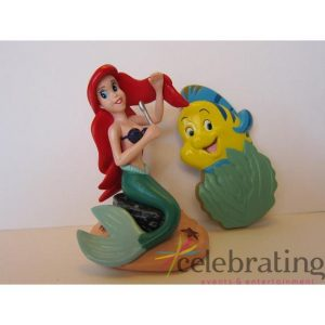 Ariel The Little Mermaid Party Cake Topper 2pk