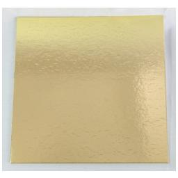 "9"" Gold Square Cardboard Cake Boards"