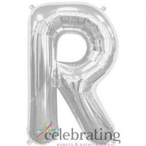 14in Silver Letter R Air-fill Foil Balloon