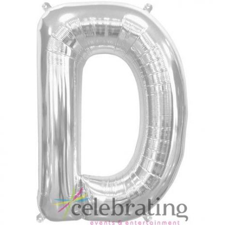 14in Silver Letter D Air-fill Foil Balloon