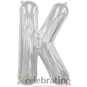 14in Silver Letter K Air-fill Foil Balloon