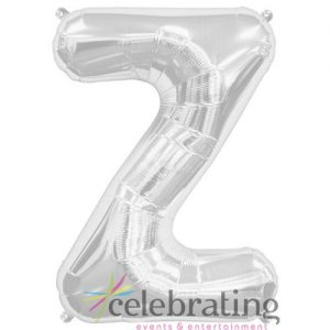 14in Silver Letter Z Air-fill Foil Balloon