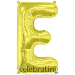 14in Gold Letter E Air-fill Foil Balloon