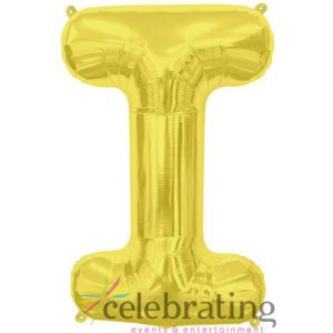 14in Gold Letter I Air-fill Foil Balloon