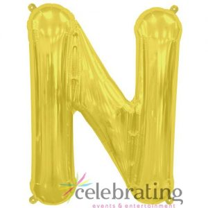 14in Gold Letter N Air-fill Foil Balloon