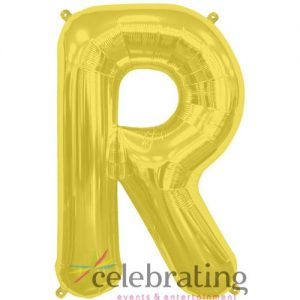 14in Gold Letter R Air-fill Foil Balloon