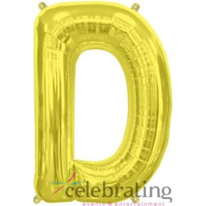 14in Gold Letter D Air-fill Foil Balloon