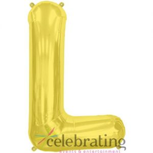 14in Gold Letter L Air-fill Foil Balloon