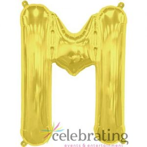 14in Gold Letter M Air-fill Foil Balloon